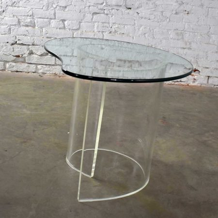 Vintage Hollywood Regency Lucite Snail or Spiral End Table with Kidney Shaped Glass Top