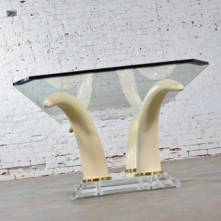 Lucite Acrylic & Glass Faux Tusk Coffee Cocktail Table After Maison Jansen or Italo Valenti
