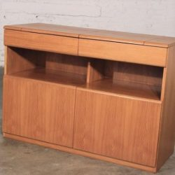 Vintage Danish Mid-Century Modern Teak Dry Bar with Flip Out Top