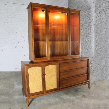 Vintage Lane Mid-Century Modern Rhythm China Cabinet Lighted with Cane Doors