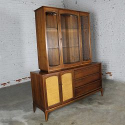Vintage Lane Mid-Century Modern Rhythm China Cabinet Lighted with Cane Doors