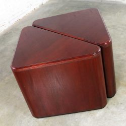 Vintage Pair of Mahogany Triangular End Tables or Pedestals