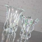 Vintage Mid-Century Modern Art Glass Vannes Le Chatel Crystal Vases
