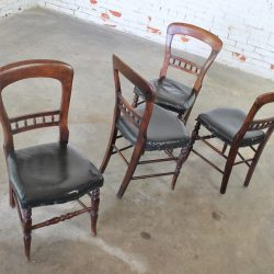 Set of Four Antique Victorian Hairpin Back Dining Chairs