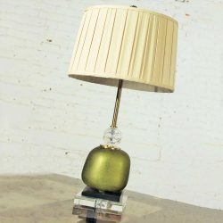 John Richard Buffet Table Lamp Green Glass & Crystal w/Black & Gold Accents