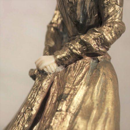 René-Paul Marquet Gilt Bronze Chryselephantine Art Nouveau Sculpture Parasol circa 1910