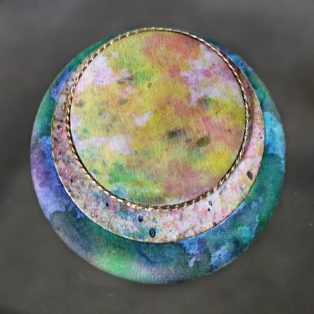 Vintage Signed Round Brooch Signed Sascha of Silk Enamel and Gold-Tone Chain