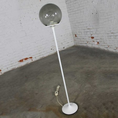 Stemlite Floor Lamp by Billy Curry for Design Line White with Smoke Glass Globe