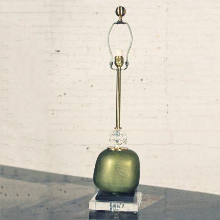 John Richard Buffet Table Lamp Green Glass & Crystal w/Black & Gold Accents