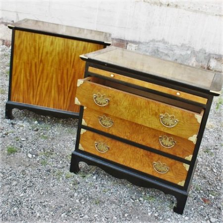 Century Furniture Chin Hua Style Nightstands, Ebonized Maple and Burl Ash
