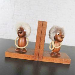 Vintage Teak Scandinavian Gonk Troll Tomte Gnome Bookends Style of Hans Bolling