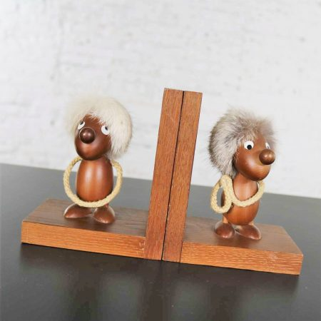 Vintage Teak Scandinavian Gonk Troll Tomte Gnome Bookends Style of Hans Bolling