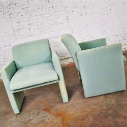 Pair of Petite Modern Accent Chairs in Sea Green