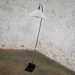 Vintage Modern Chrome Arc Floor Lamp with White Glass Shade