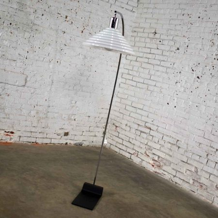Vintage Modern Chrome Arc Floor Lamp with White Glass Shade