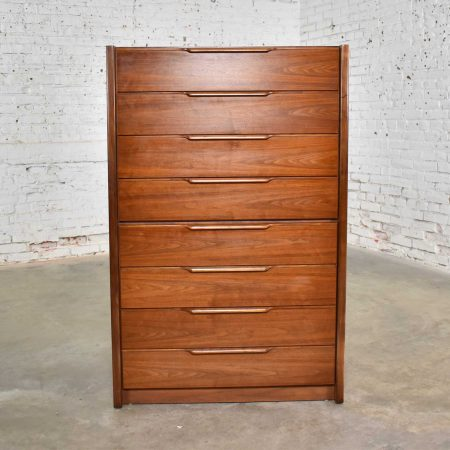 Walnut Scandinavian Modern Style Tall Chest of Drawers by Barzilay Furniture Mfg.
