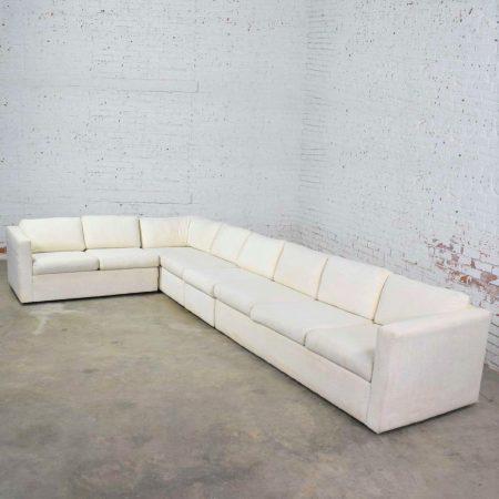 White Modern Tuxedo Five Piece Sectional Sofa by Milo Baughman for Thayer Coggin