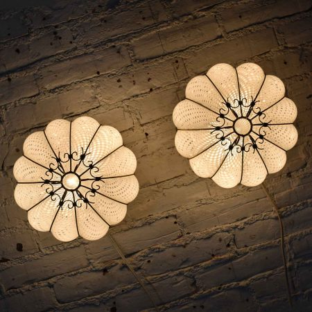 Pair Mid Century Gold & White Caged Venetian Latticino Glass Ceiling Lights or Sconces