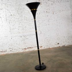 Art Deco Hollywood Regency Black and Brass Trumpet Torchier Floor Lamp