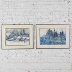 Pair of Vintage Watercolor Winter Landscape Paintings by Dorothy M. Reece Kordash