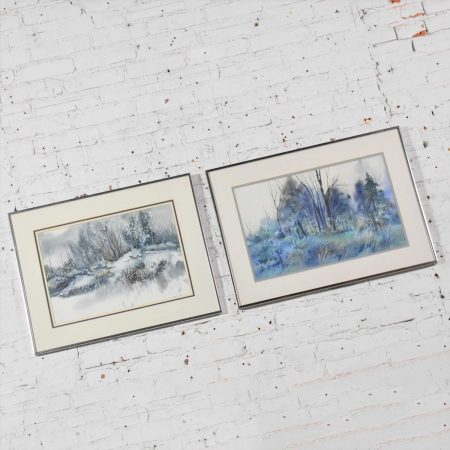 Pair of Vintage Watercolor Winter Landscape Paintings by Dorothy M. Reece Kordash