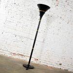 Art Deco Hollywood Regency Black and Brass Trumpet Torchier Floor Lamp