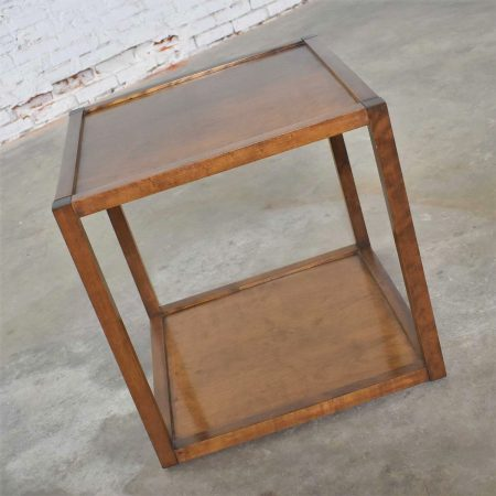 Mid Century Modern Square Walnut Cocktail Coffee End or Side Table