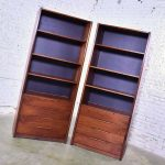 Pair of Walnut Scandinavian Modern Style Bookcase Storage Units by Barzilay Furniture