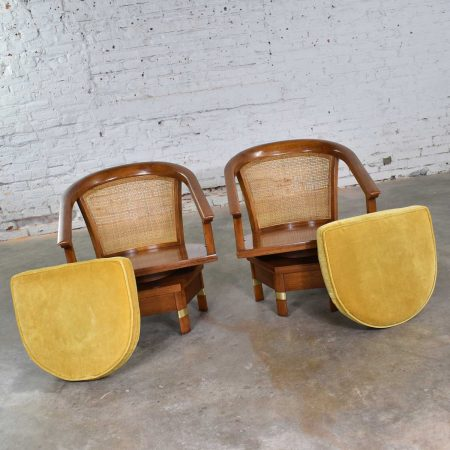 Campaign Style Swivel Chairs on Hexagon Base with Hex Table by Hickory Furniture Mfg.