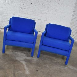 Pair Modern Parsons Style Club Chairs in Royal Blue After Milo Baughman