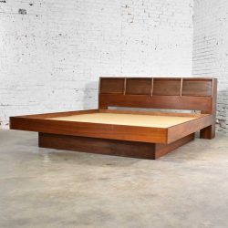 Walnut Scandinavian Modern Style King Bookcase Platform Bed w Tambour Doors by Barzilay