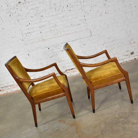MCM Grand Haven Chairs in Gold Velvet by Jack Van Der Molen for Jamestown Lounge