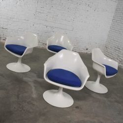 4 Tulip Style White Fiberglass Swivel Armchairs by Arthur Umanoff for Contemporary Shells