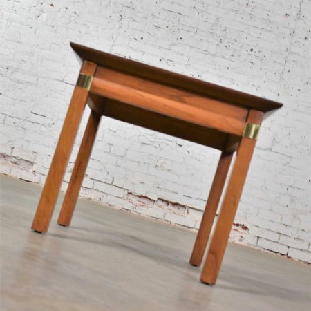 Campaign Style Square Side Table with White Laminate Top by Hickory Furniture Mfg.