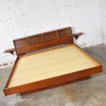 Walnut Scandinavian Modern Style King Bookcase Platform Bed w Tambour Doors by Barzilay
