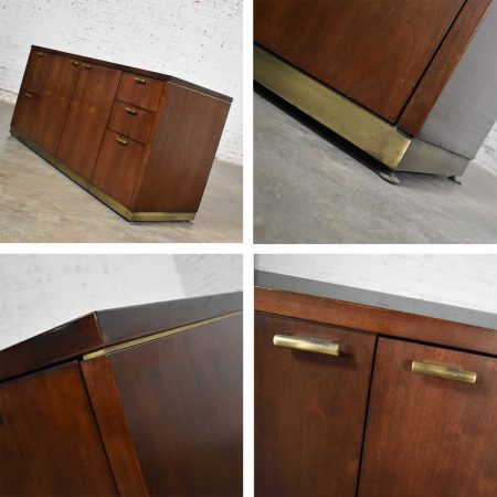 Large Mid Century Modern Cantilever Executive Desk & Credenza by Myrtle Desk Company