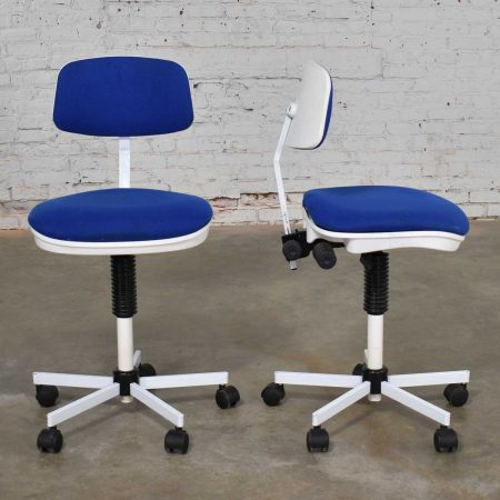 Rabami Made in Denmark Task Chair Blue & White Attributed to Kevi by Jorgen Rasmussen