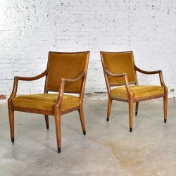 MCM Grand Haven Chairs in Gold Velvet by Jack Van Der Molen for Jamestown Lounge