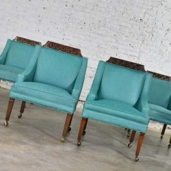 HOLD – Set of 4 Spanish Style Rolling Game Chairs with Turquoise Vinyl Original Upholstery