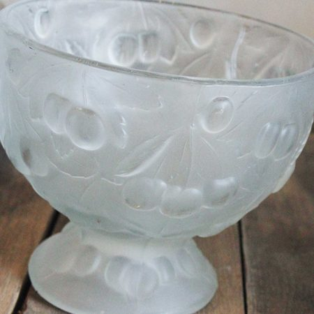 Vintage Frosted Glass Serving Compotes with Raised Cherry Design Motif