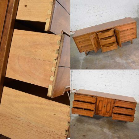 Mid Century Credenza Dresser with Mirror and Hexagon Paneled Design