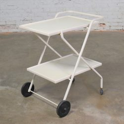 Mid Century Modern Samsonite Tiered Patio Drink Cart of Fiberglass and Enameled Steel Tube in White