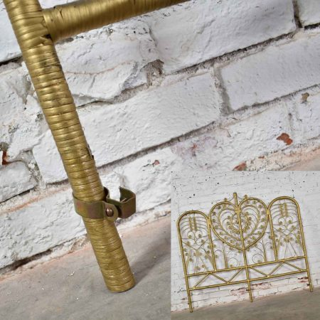 Hollywood Regency Bohemian Bedroom Trio Gold Wicker Headboard Heart Chair & Mirror
