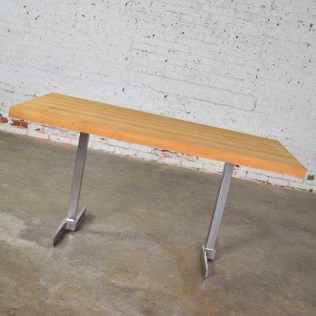 Vintage Modern Maple Butcherblock Top Dining Worktable on Hand Polished Steel Legs