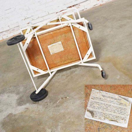 Mid Century Modern Samsonite Tiered Patio Drink Cart of Fiberglass and Enameled Steel Tube in White