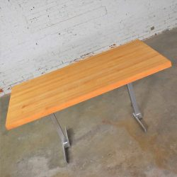Vintage Modern Maple Butcherblock Top Dining Worktable on Hand Polished Steel Legs