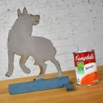Antique Dog or Wolf Tin Cutout and Painted Folk Art Sculpture on a Wood Base