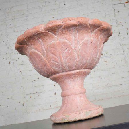 Antique Salmon Red Concrete Garden Urn Planter