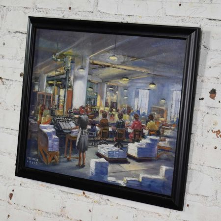 1940's Painting by Colorado Artist Herndon Davis of Industrial Interior