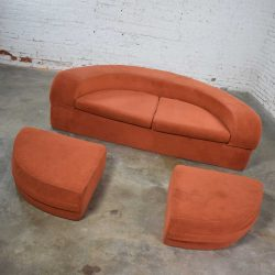 Mod Round Sleeper Sofa with Ottomans in Orange Fuzzy Fabric by Spherical Furniture